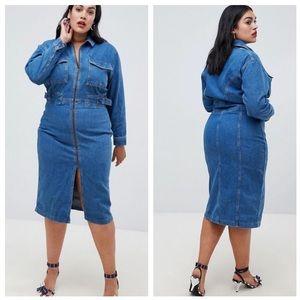 ASOS Denim Utility Dress in Midwash Blue